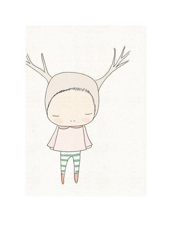 Giclée Print  Deer Illustration Cute Little Girl With by honeycup, $20.00