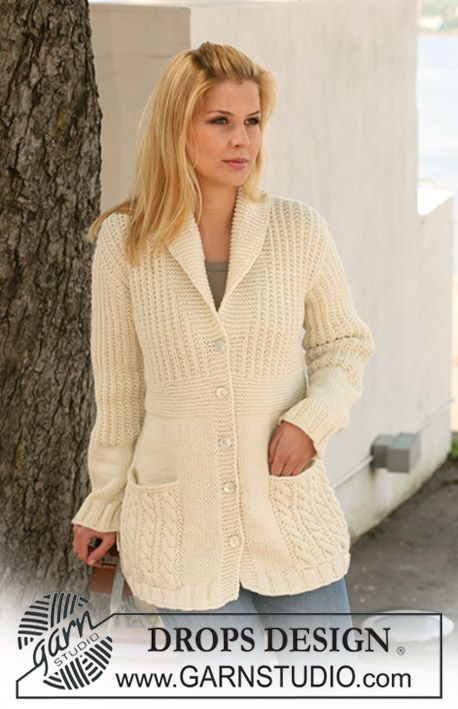 """Knitted DROPS jacket with textured pattern and pockets in """"Nepal"""". Sizes S to XXXL ~ DROPS Design"""