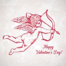 恋のキューピット,天使,バレンタインデー,結婚式,ウエディング,弓矢,カード背景イメージ ベクターイラスト素材