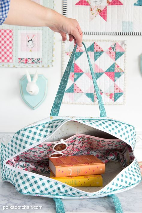 Learn how to sew a cute weekender travel bag from the new video sewing tutorial series with Melissa Mortenson of the polka dot chair blog.