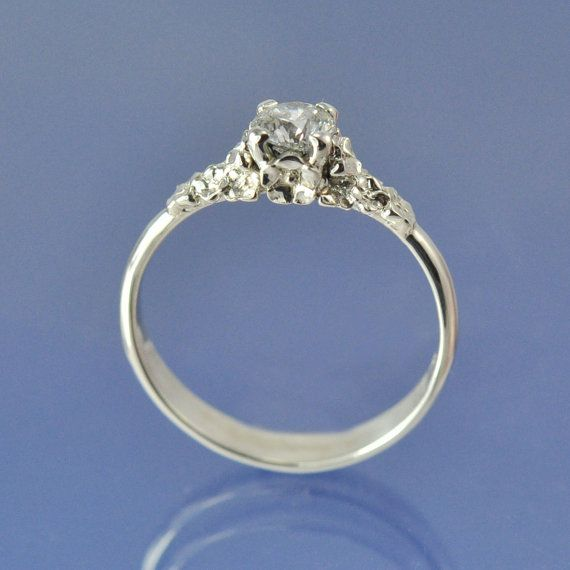 Forget Me Not Flower Diamond Engagement Ring by chrisparry on Etsy, £2000.00
