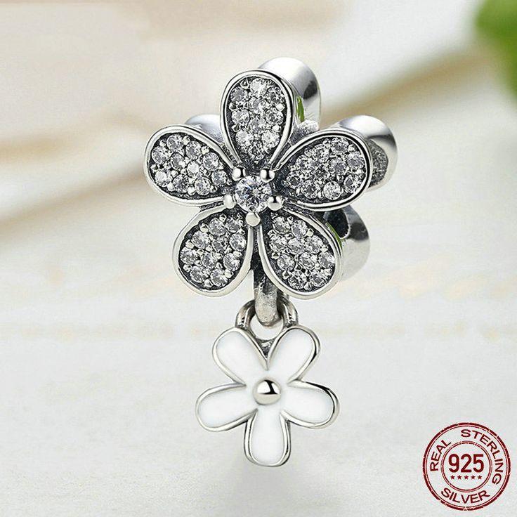 Margherite CZ chiari e smalto bianco bead 100% argento sterling 925 adatta misure Pandora charm Pandora bead e Braccialetto europeo SC077 di OceanBijoux su Etsy