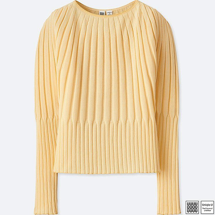 WOMEN U 3D RIBBED BALLOON CREWNECK SWEATER, YELLOW, large