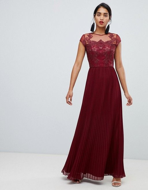 ff20f6ea96 Chi Chi London | Chi Chi London lace embroidered top maxi dress with pleated  skirt in wine