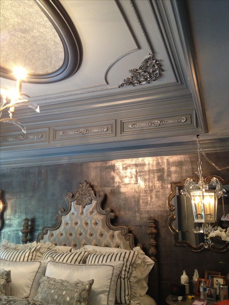 JP Weaver ornamentation on ceiling and soffit, glass beads and pure silver glass glitter in dome, metallic plaster on walls, by Tracy Wade Design, LLC.