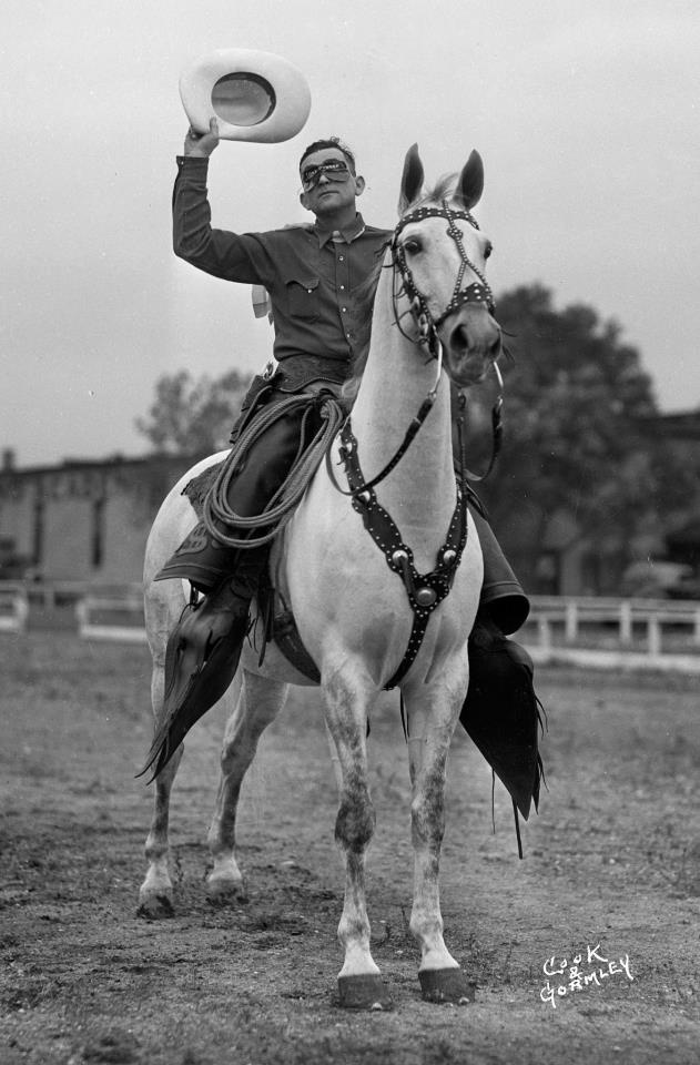 "Silver, famous American Saddlebred, but with an unknown ""wannabe"" Lone Ranger (he wrote it on his mask!) - credit International Museum of the Horse"
