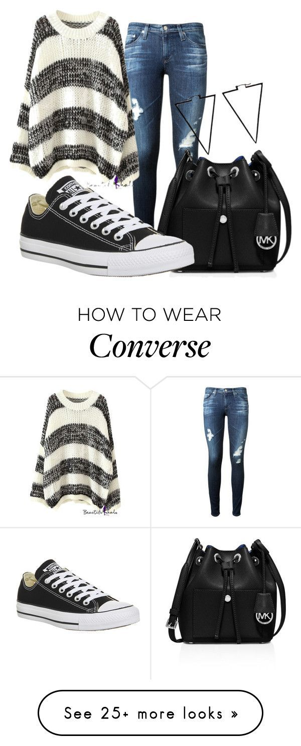 """""""pick and go.101"""" by fherrrnanda on Polyvore featuring moda, AG Adriano Goldschmied, MICHAEL Michael Kors, Converse i ADORNIA"""