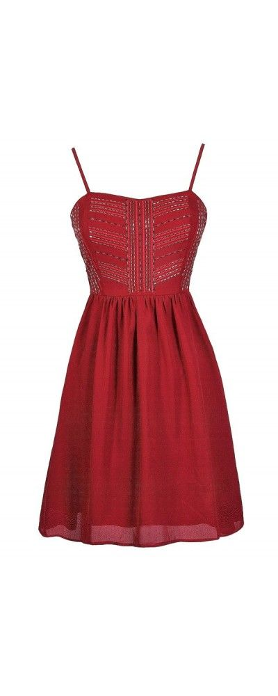 Just Bead It A-Line Dress in Red  www.lilyboutique.com