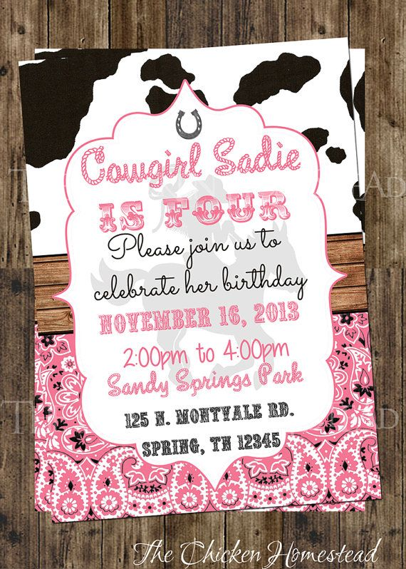 Custom girl's Cowgirl-rodeo-western-cow print-pink bandanna digital and printable invitation! You choose all wording!
