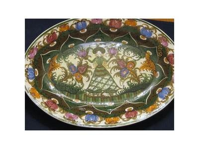 "Authentic Signed Skyros Platter 17"" Oval Blonde Flower Girl Design"
