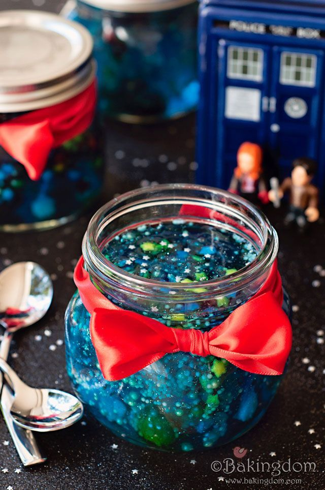 Doctor Who Galaxy Jello in a Jar by Bakingdom. This is too cute and this blog has a bunch of other cool Doctor Who party treats! It combines two of my favorite things... Jello and Doctor Who!