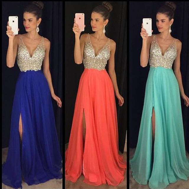 Sexy Green Royal Blue Prom Dress Rhinestone Side Slit V Neck Indian Long Graduation Evening Gowns Chiffon L326