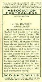 1935-36 W.D. & H.O. Wills Association Footballers #2 Jack Barker  Back