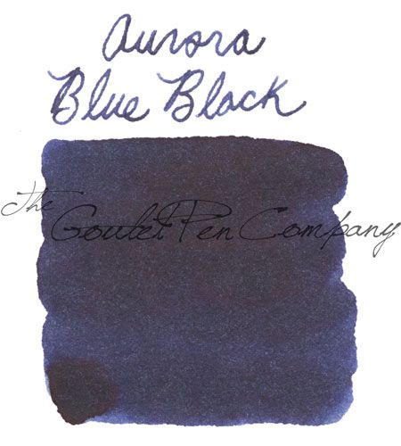A 2ml sample of Aurora Blue/Black fountain pen ink, in a labeled plastic vial.