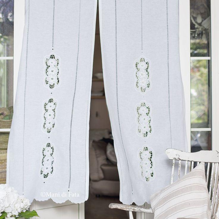 lino bianco disegnato per completo tende da fare a intaglio