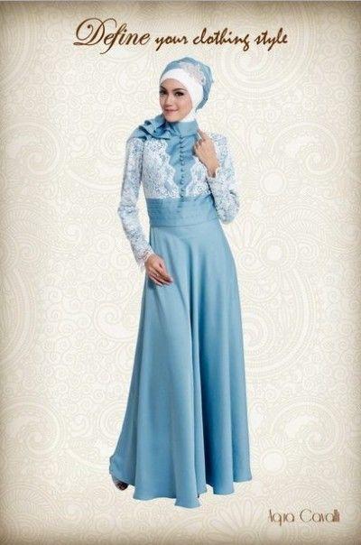Long dress muslim kombinasi brokat