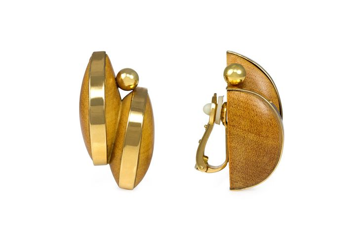 Wood with gold earclips
