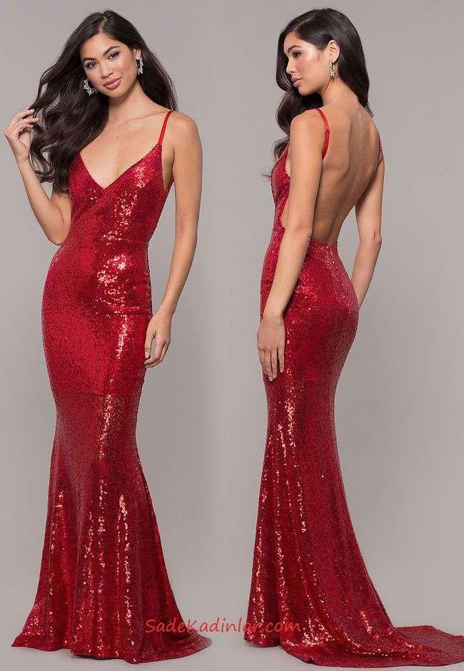 2c076273febcc Payetli Uzun Abiye Kırmızı Uzun Askılı V Yakalı Sırt Dekolteli Kuyruklu  Payetli Elbise #geceelbiseleri #abiye #eveningdresses