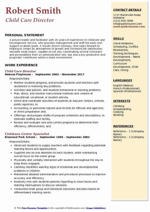 Child Care Experience Resume Fresh Child Care Director Resume Samples In 2020 Job Resume Samples Good Resume Examples Dental Hygienist Resume