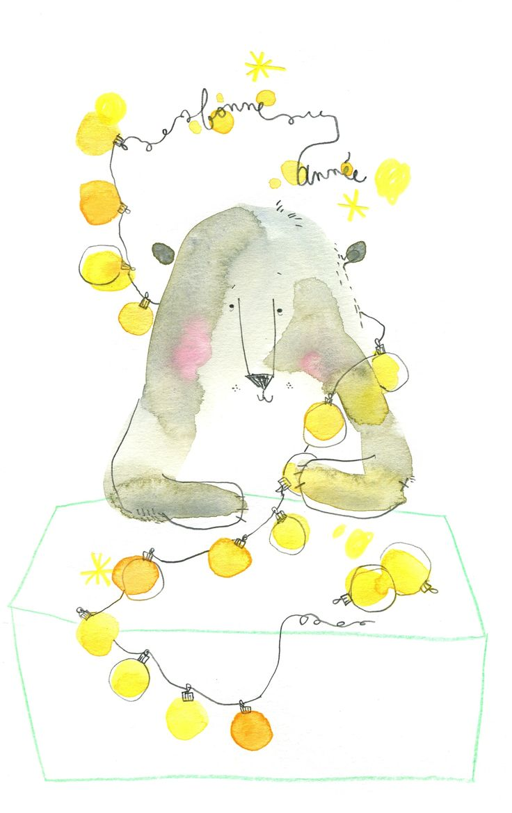 happy new year, stupid bear,  aquarelle, cécile hudrisier