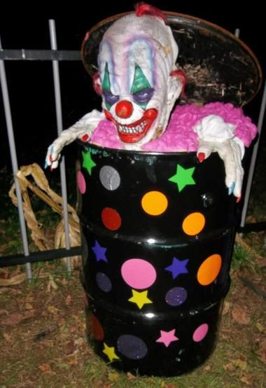 Trash barrel with glow in the dark stickers or paint.