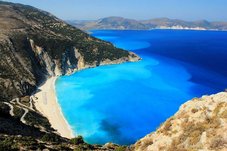 The various... blues of Myrtos beach in the island of Kefalonia CallGreece.gr