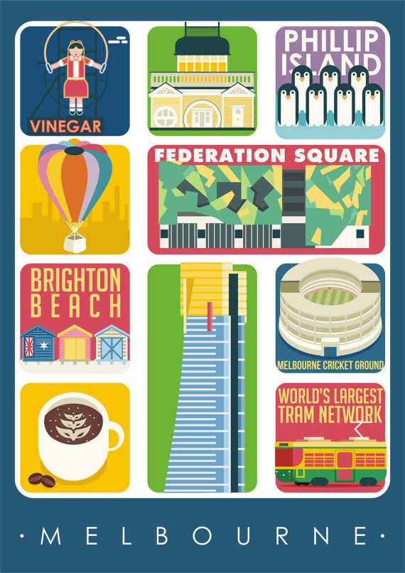 Melbourne Art Poster, Melbourne Print Wall Decor, Melbourne Attractions, Bar Decor, Travel Art, Kitchen Art, Retro Poster