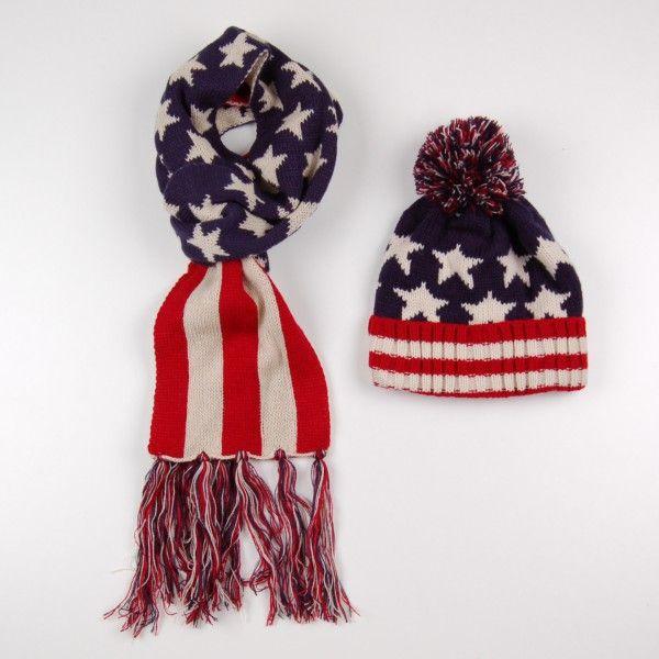 Набор шапка и шарф с принтом американский флаг (артикул A 20111-deep blue) - 459 грн.