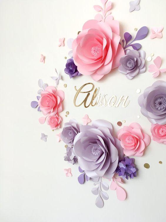Papel flor Set real para el cuarto del bebé - elegantes flores de papel sobre las floraciones de cuna - flores de papel de pared de cuarto de niños - papel