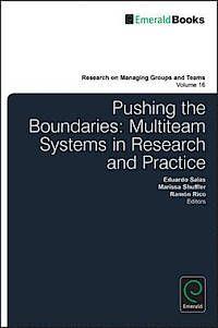 Pushing the boundaries : multiteam systems in research and      practice  / ed. by Marissa L. Shuffler, Ramón Rico y Eduardo      Salas. -- Bingley : Emerald, 2014 http://absysnet.bbtk.ull.es/cgi-bin/abnetopac01?TITN=512665