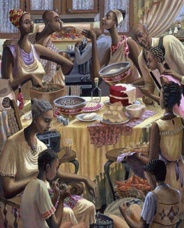 John Holyfield - Soul Food Lithograph in 2019 | African american art, Black art pictures, Black art painting
