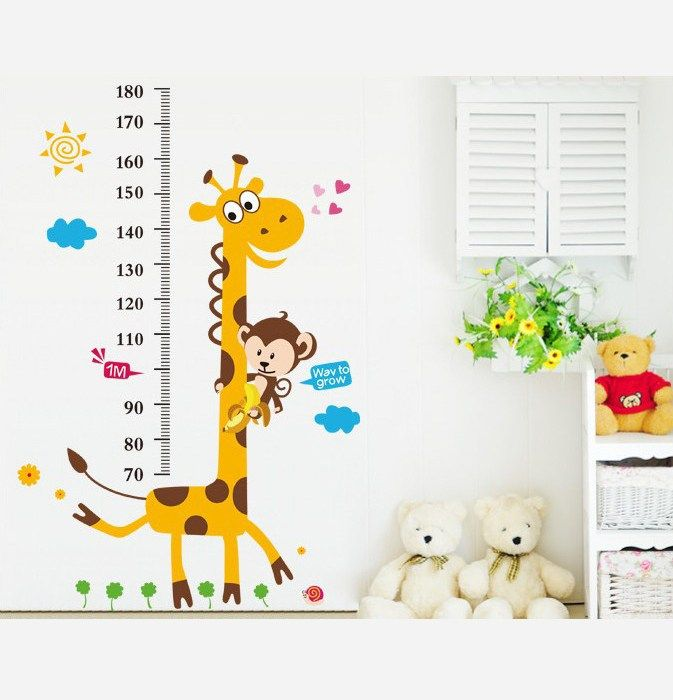 Wall Stickers Giraffe Growth Chart Height Measure Kids Home Decor Giraffe Wall  Sticker Contemporary Wall Stickers
