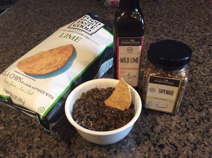 Olive Tapenade! 1 can black olives, 2 tbsp YIAH Wild Lime EVOO, 1 tbsp lemon juice, 1 tsp capers, 1 garlic clove, 2 tsp YIAH Tapenade Dip Mix.  Mix all ingredients in a food processor.  Serve as a dip or to season chicken and pasta.