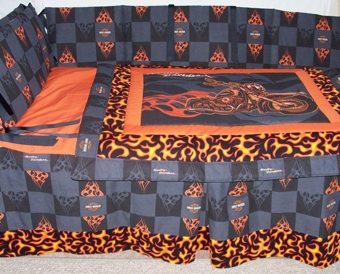 Harley Davidson Flames Nursery Crib Bedding Set Custom Designed One Of A Kind 485 00
