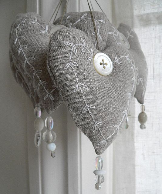 New linen hearts by Sue McLoughlin, via Flickr