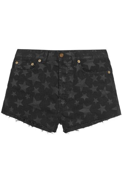 Saint Laurent - Cut-off Printed Stretch-denim Shorts - Midnight blue -