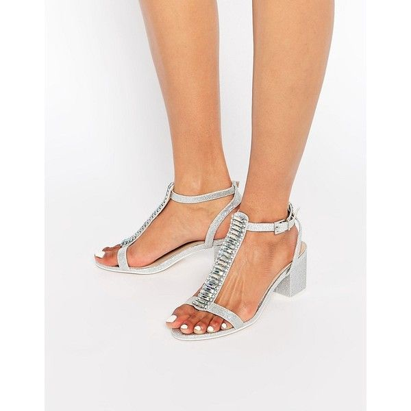 ASOS HOTEL Embellished Heeled Sandals (355 MAD) ❤ liked on Polyvore featuring shoes, sandals, silver, silver sandals, embellished sandals, glitter shoes, silver glitter shoes and silver glitter sandals