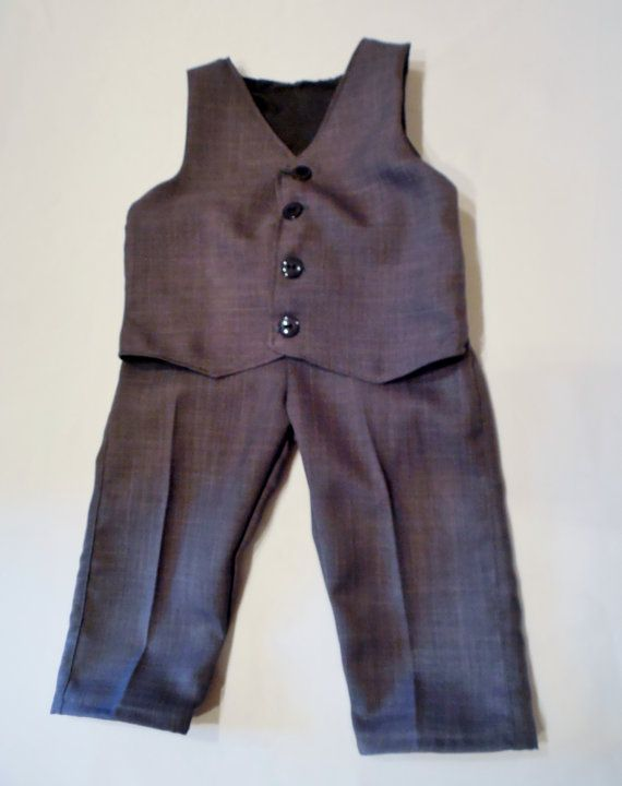 Gray Toddler suit with black lining. Boys by CuppyCakeClothing