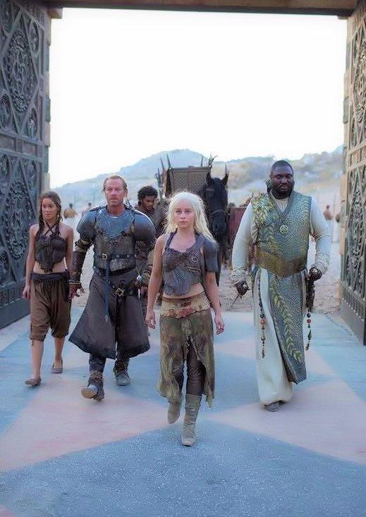 In Qarth: Jorah Mormont, Daenerys, and Xaro Xhoan Daxos, far right
