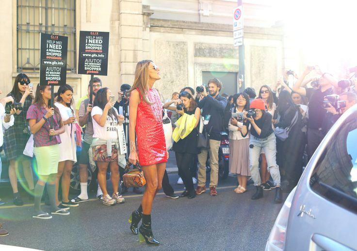 Anna Dello Russo in a Miu Miu dress and Christian Dior shoes