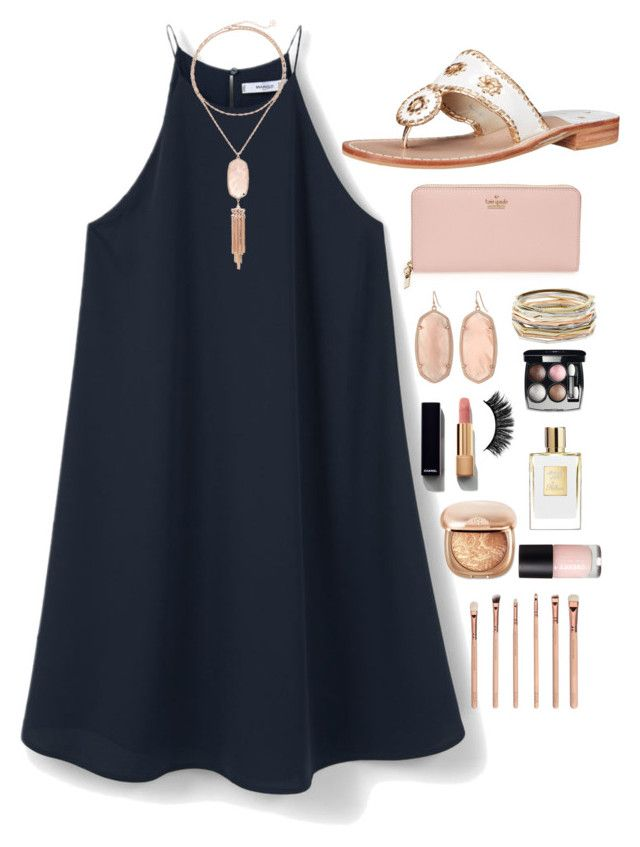 """""""Contest: Day 2: Fancy Dinner with the Family"""" by harris-lindsey ❤ liked on Polyvore featuring MANGO, Jack Rogers, Kate Spade, Kendra Scott, Chanel and csummercontest"""