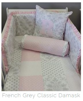 Our #FrenchGrey and #Pink combination is very #elegant, perfect for any #BabyGirl's nursery!  #BabyBedding #BabyLinen