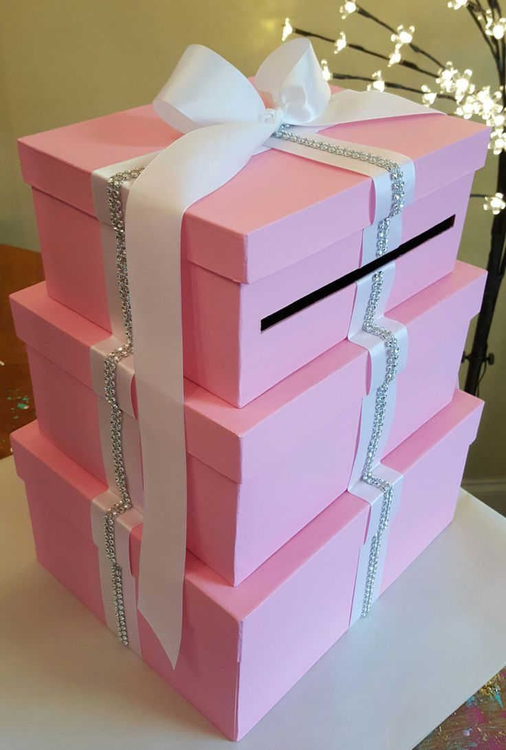 Ordinary Baby Shower Envelope Box Part - 12: Large Pink Three Tier Rectangle Card Box In Any Color Needed For Weddings Baby  Shower Bridal