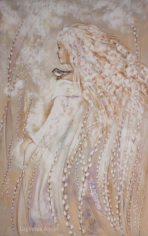 Купить Верба - верба, весна, девушка, женский образ, нежность, картина пастелью, кремовый, облака
