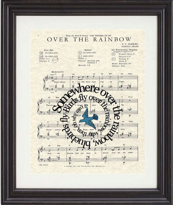 Wizard Of OZ, Over The Rainbow,Song Lyric, Sheet Music, Art Print, Ruby Red Slippers, Nursery, Children, Classic Movie