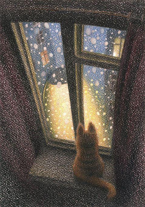 """...тихий снегопад - самый """"медитативный"""" вид осадков. если долго смотреть на медленно падающий снег, через какое-то время начинает казаться, будто это вовсе не он падает с неба на город, а город летит на небо сквозь снег..."""