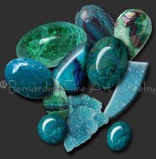 Chrysocolla: Creativity, female energy, communication, relieves ulcers and arthritis. Chrysocolla is associated with tranquility and peace, intuition, patience, and unconditional love. It is thought to offer gentle and soothing qualities.