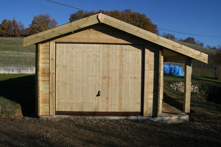 garage une place avec apentis bois autoclave construction sur mesure - fabricant de garage prefabrique
