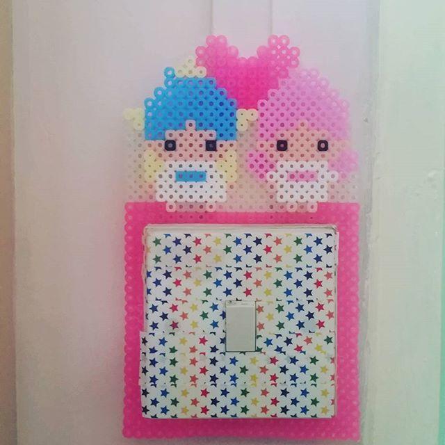 Little Twin Stars light switch frame perler beads by patseah