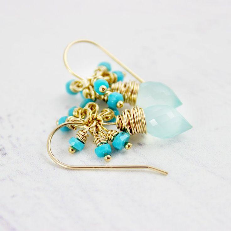 LIGHT AQUA AND TURQUOISE GOLD DANGLE EARRINGS  | Earrings | Necklace | Jewelry | Gemstone Jewelry | #gemstone #druzy #gemstonejewelry #jewelry #handmadejewelry | www.starlettadesigns.com